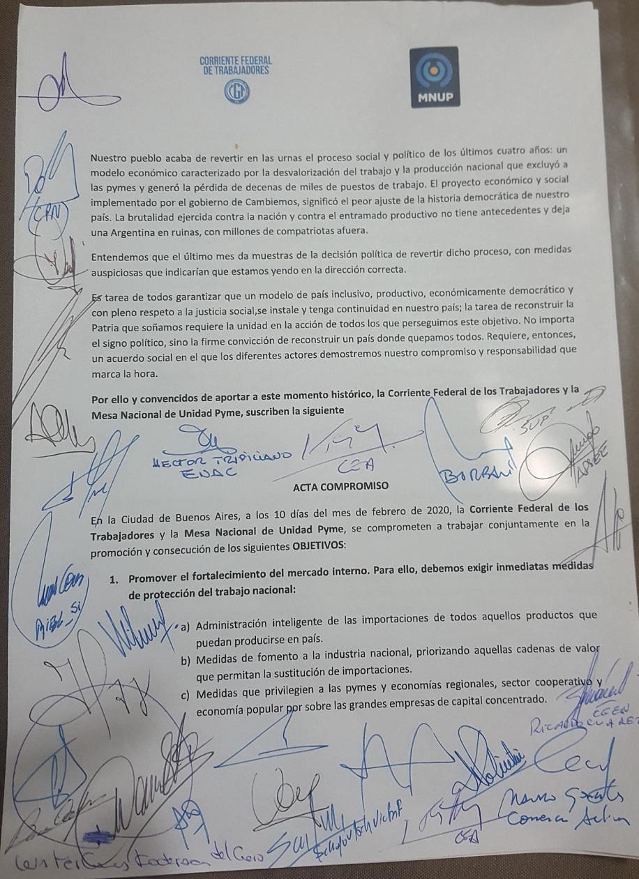 Acta Acuerdo Corriente Pymes